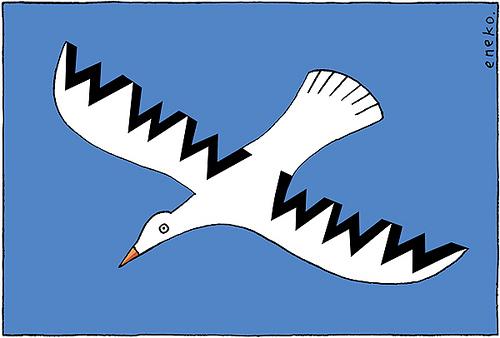 Paloma volando con las letras WWW en sus alas
